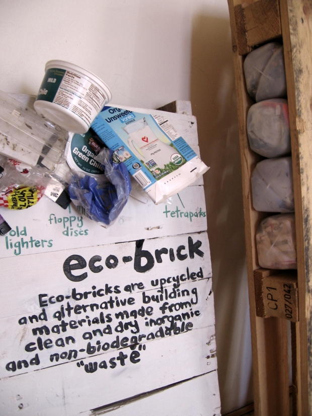 Eco-brick Display and Shipping Pallet Stuffed